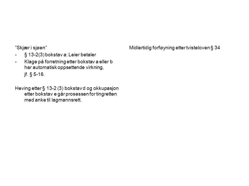 Skjær i sjøen -§ 13-2(3) bokstav a: Leier betaler -Klage på forretning etter bokstav a eller b har automatisk oppsettende virkning, jf.
