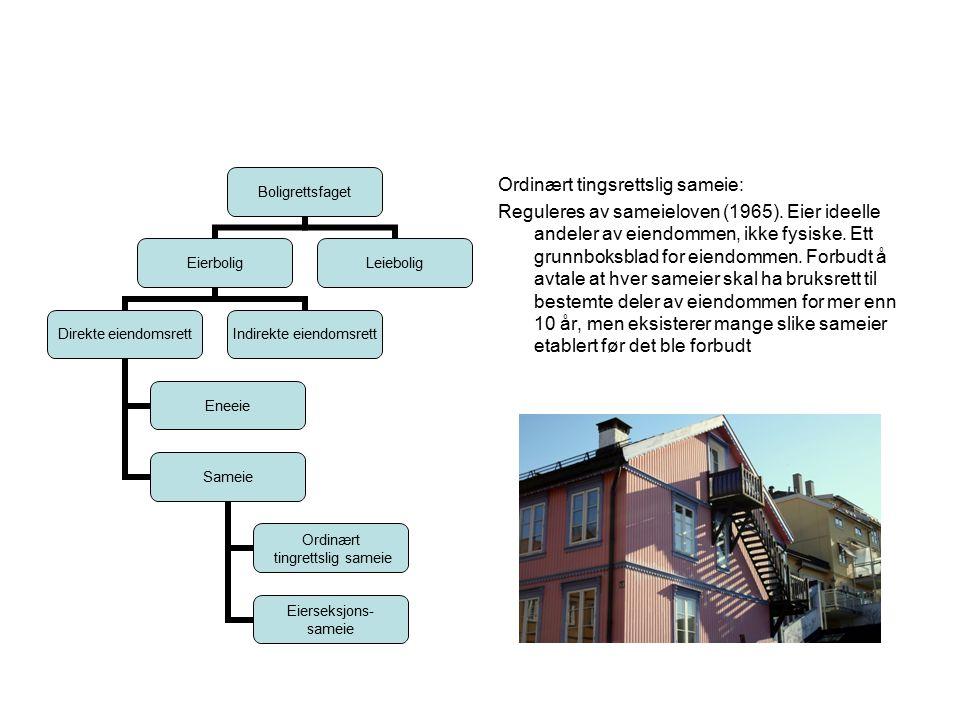 Ordinært tingsrettslig sameie: Reguleres av sameieloven (1965).
