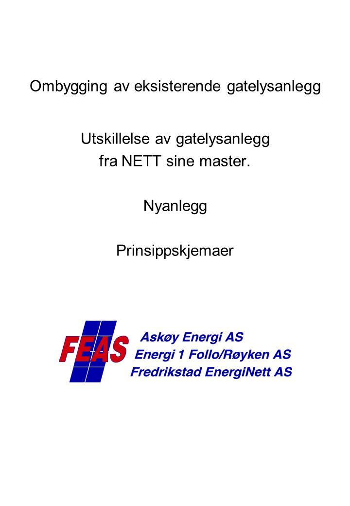 FEN/AE/E1 Tennledning Eksisterende anlegg, før ombygging, fellesføring Etter ombygging fellesføring FEN/AE/E1 Kunde 2 polet Driftsavtale skal inngås ved fellesføringer.