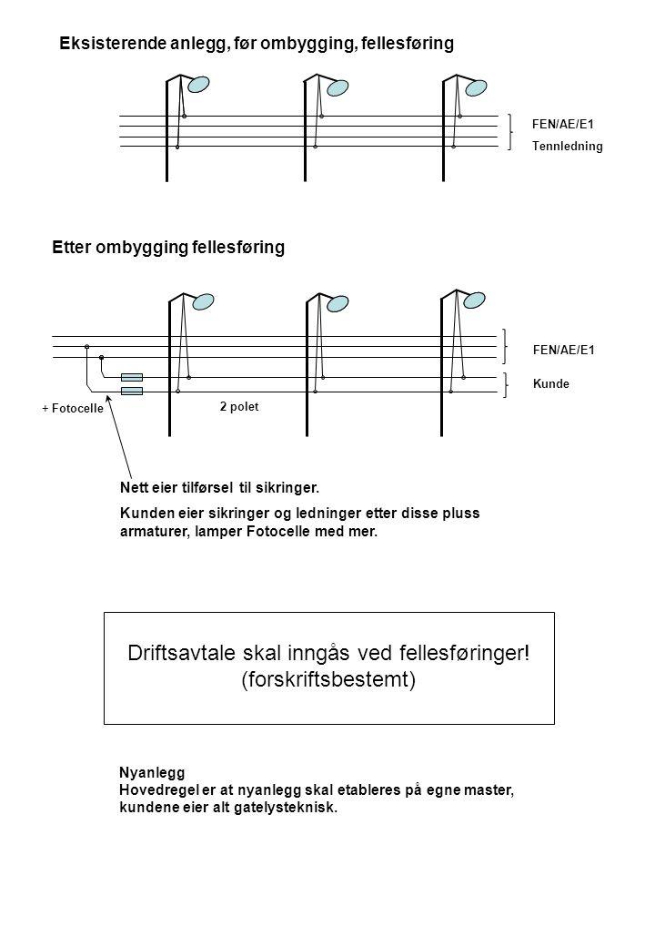 FEN/AE/E1 Tennledning Eksisterende anlegg, før ombygging, fellesføring Etter ombygging fellesføring FEN/AE/E1 Kunde 2 polet Driftsavtale skal inngås v