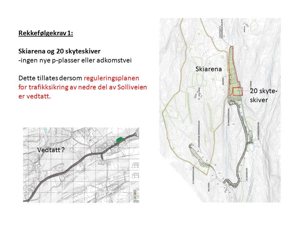 Rekkefølgekrav 1: Skiarena og 20 skyteskiver -ingen nye p-plasser eller adkomstvei Dette tillates dersom reguleringsplanen for trafikksikring av nedre del av Solliveien er vedtatt.