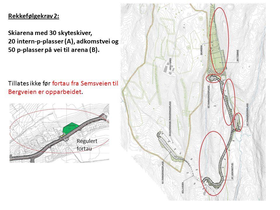 Rekkefølgekrav 2: Skiarena med 30 skyteskiver, 20 intern-p-plasser (A), adkomstvei og 50 p-plasser på vei til arena (B).