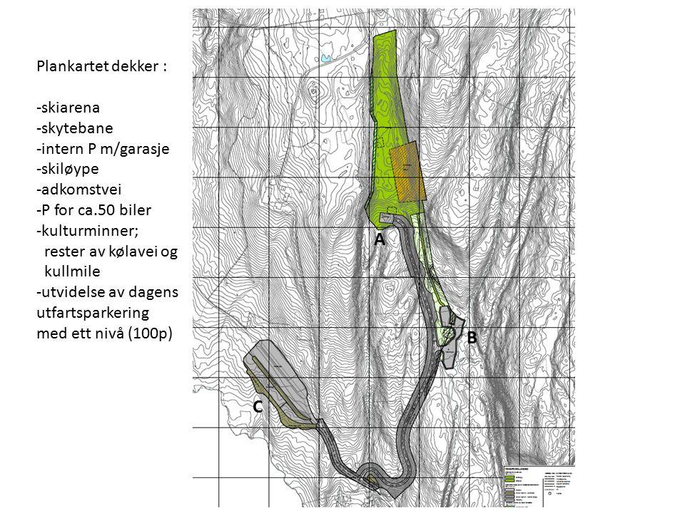 Plankartet dekker : -skiarena -skytebane -intern P m/garasje -skiløype -adkomstvei -P for ca.50 biler -kulturminner; rester av kølavei og kullmile -utvidelse av dagens utfartsparkering med ett nivå (100p) A B C