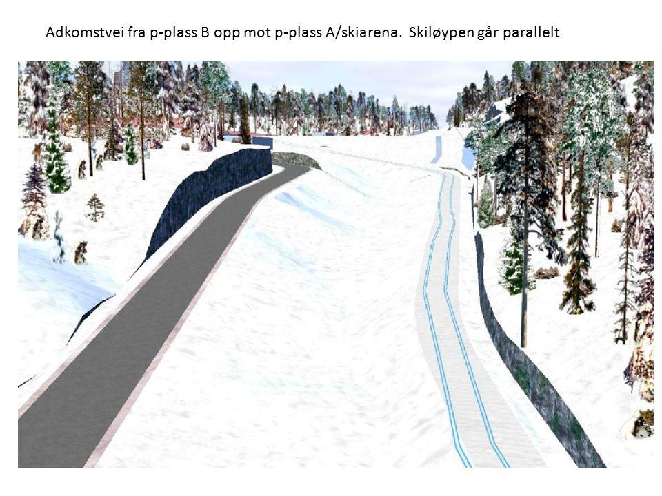 Adkomstvei fra p-plass B opp mot p-plass A/skiarena. Skiløypen går parallelt