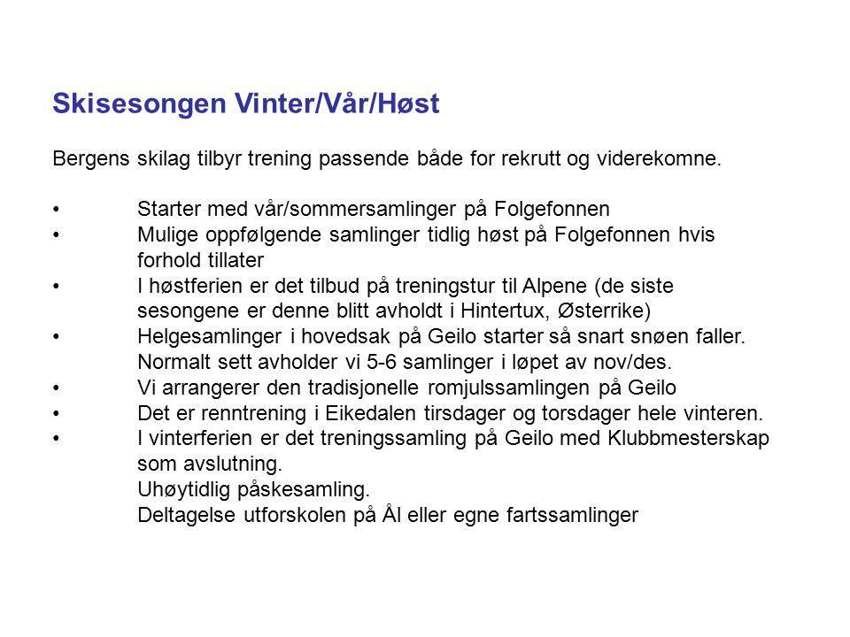 Skisesongen Vinter/Vår/Høst Bergens skilag tilbyr trening passende både for rekrutt og viderekomne. Starter med vår/sommersamlinger på Folgefonnen Mul