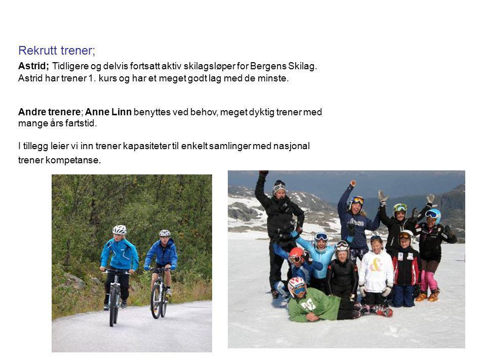 Rekrutt trener; Astrid; Tidligere og delvis fortsatt aktiv skilagsløper for Bergens Skilag. Astrid har trener 1. kurs og har et meget godt lag med de