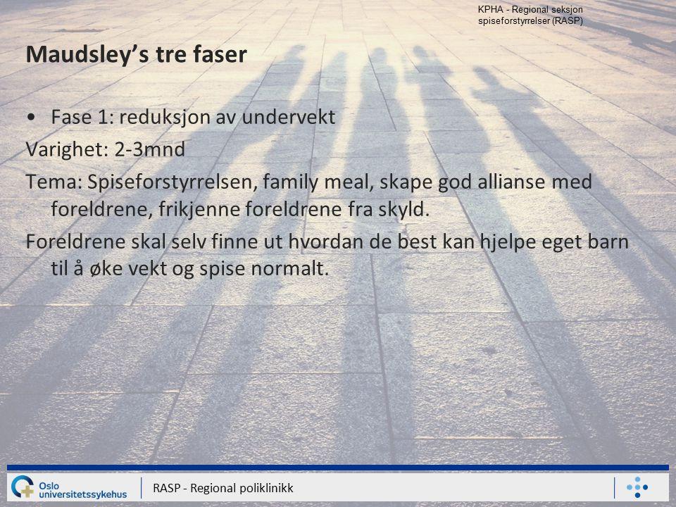 KPHA - Regional seksjon spiseforstyrrelser (RASP) RASP - Regional poliklinikk Maudsley's tre faser Fase 1: reduksjon av undervekt Varighet: 2-3mnd Tem