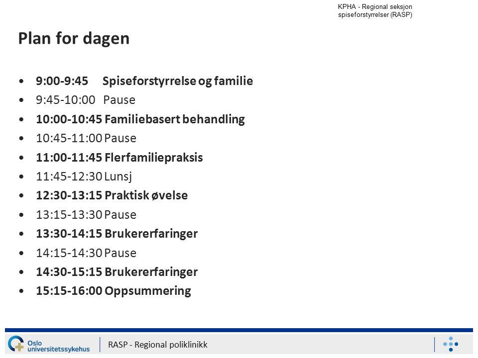 KPHA - Regional seksjon spiseforstyrrelser (RASP) RASP - Regional poliklinikk Plan for dagen 9:00-9:45 Spiseforstyrrelse og familie 9:45-10:00 Pause 1