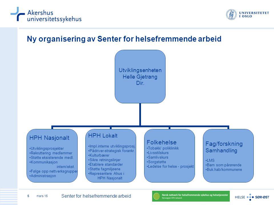 mars 15 Senter for helsefremmende arbeid 5 Ny organisering av Senter for helsefremmende arbeid Utviklingsenheten Helle Gjetrang Dir. HPH Nasjonalt Utv