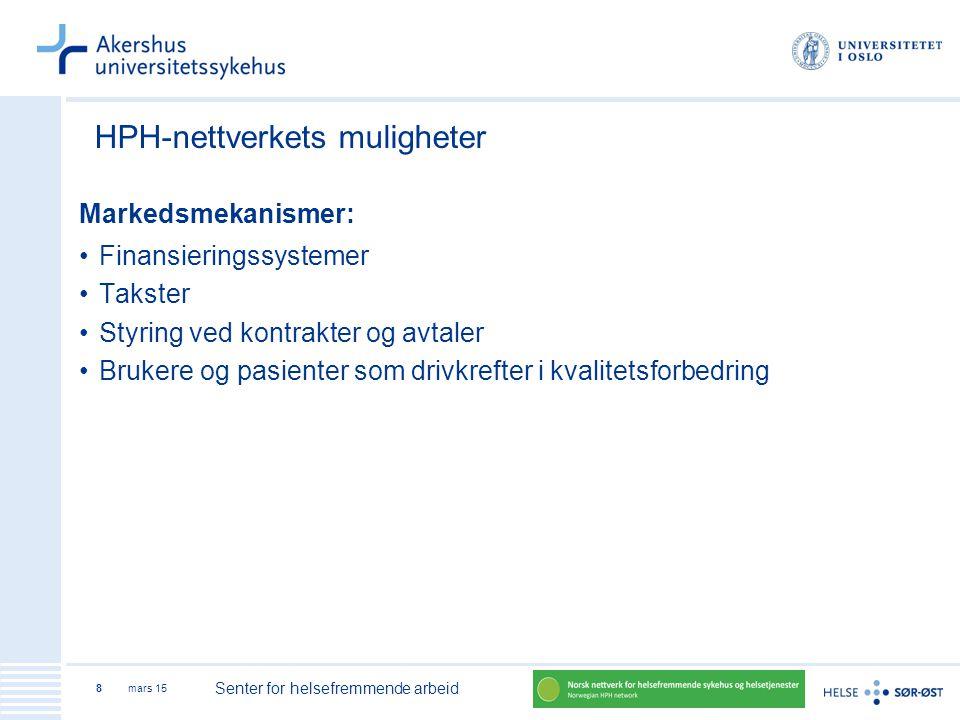 mars 15 Senter for helsefremmende arbeid 8 HPH-nettverkets muligheter Markedsmekanismer: Finansieringssystemer Takster Styring ved kontrakter og avtal