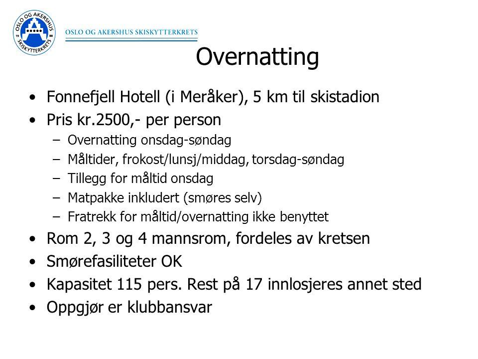 Overnatting Fonnefjell Hotell (i Meråker), 5 km til skistadion Pris kr.2500,- per person –Overnatting onsdag-søndag –Måltider, frokost/lunsj/middag, t