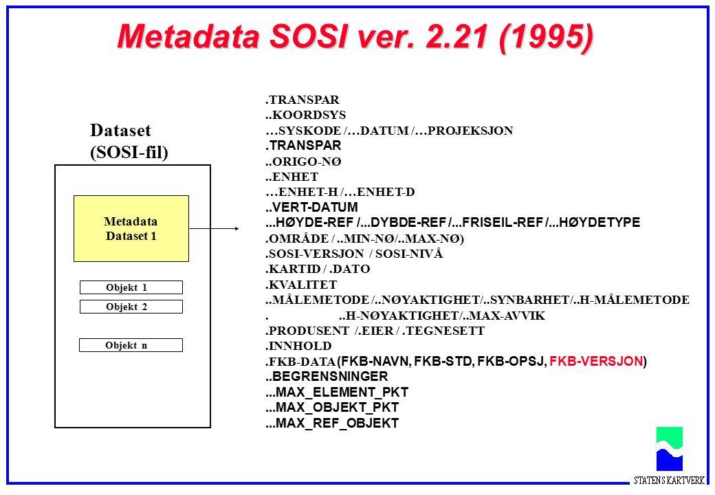 Metadata SOSI ver. 2.21 (1995) Dataset (SOSI-fil) Objekt 1 Objekt 2Objekt n Metadata Dataset 1.TRANSPAR..KOORDSYS …SYSKODE /…DATUM /…PROJEKSJON.TRANSP