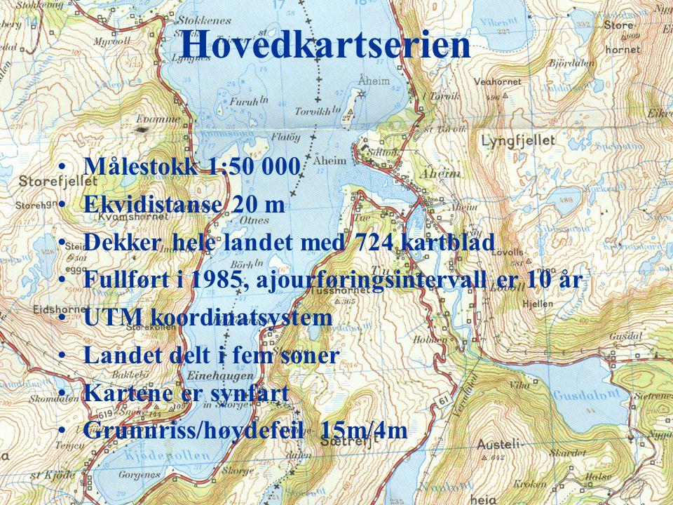 Topografiske kart Den viktigste kartserien er hovedkartserien i målestokk 1:50 000 Vi skal se på detaljer knyttet kartserien