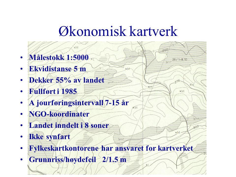 Hovedkartserien Målestokk 1:50 000 Ekvidistanse 20 m Dekker hele landet med 724 kartblad Fullført i 1985, ajourføringsintervall er 10 år UTM koordinat