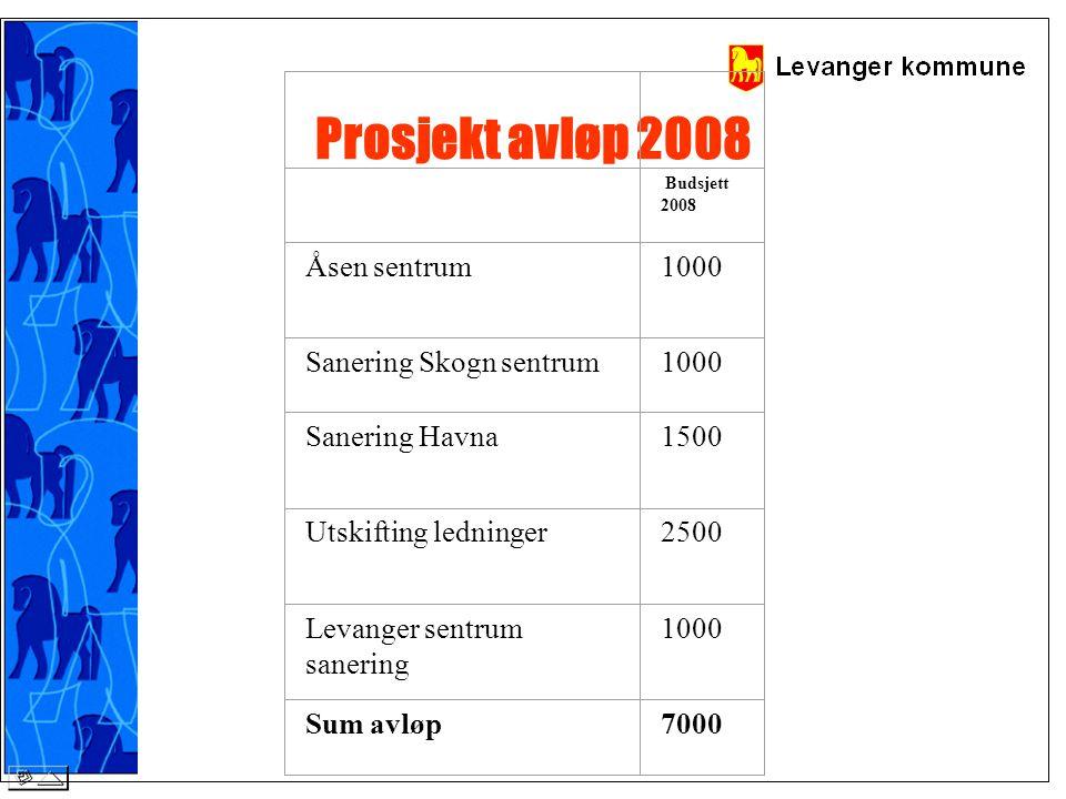 Prosjekt avløp 2008 Budsjett 2008 Åsen sentrum 1000 Sanering Skogn sentrum1000 Sanering Havna 1500 Utskifting ledninger 2500 Levanger sentrum sanering 1000 Sum avløp7000