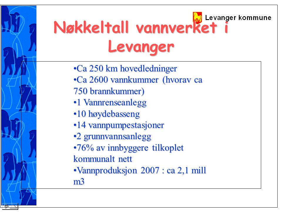 Nøkkeltall vannverket i Levanger Ca 250 km hovedledningerCa 250 km hovedledninger Ca 2600 vannkummer (hvorav ca 750 brannkummer)Ca 2600 vannkummer (hvorav ca 750 brannkummer) 1 Vannrenseanlegg1 Vannrenseanlegg 10 høydebasseng10 høydebasseng 14 vannpumpestasjoner14 vannpumpestasjoner 2 grunnvannsanlegg2 grunnvannsanlegg 76% av innbyggere tilkoplet kommunalt nett76% av innbyggere tilkoplet kommunalt nett Vannproduksjon 2007 : ca 2,1 mill m3Vannproduksjon 2007 : ca 2,1 mill m3