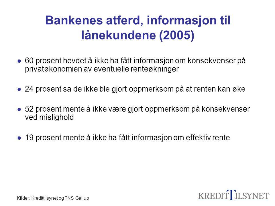 Bankenes atferd, informasjon til lånekundene (2005) ●60 prosent hevdet å ikke ha fått informasjon om konsekvenser på privatøkonomien av eventuelle ren