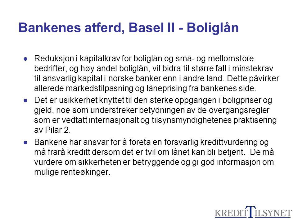 Bankenes atferd, Basel II - Boliglån ●Reduksjon i kapitalkrav for boliglån og små- og mellomstore bedrifter, og høy andel boliglån, vil bidra til større fall i minstekrav til ansvarlig kapital i norske banker enn i andre land.
