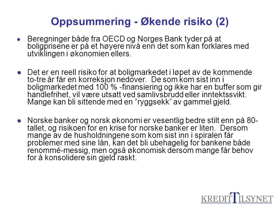 Oppsummering - Økende risiko (2)  Beregninger både fra OECD og Norges Bank tyder på at boligprisene er på et høyere nivå enn det som kan forklares med utviklingen i økonomien ellers.