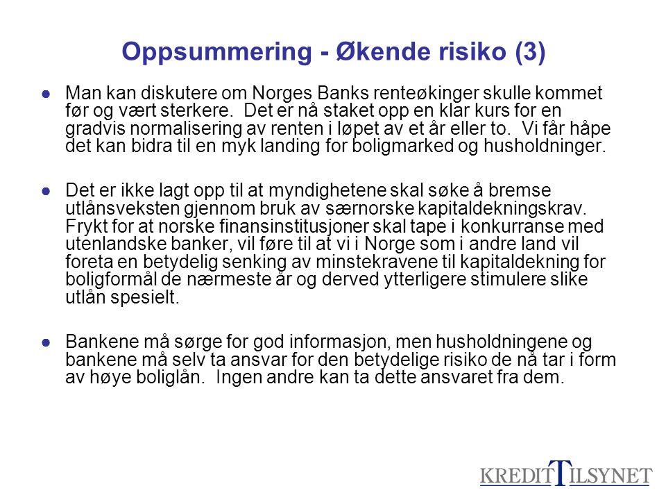 Oppsummering - Økende risiko (3) ●Man kan diskutere om Norges Banks renteøkinger skulle kommet før og vært sterkere. Det er nå staket opp en klar kurs