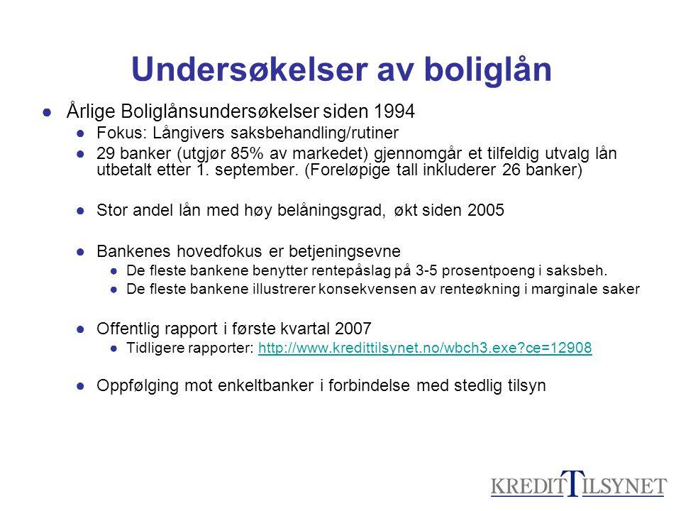 Undersøkelser av boliglån ●Årlige Boliglånsundersøkelser siden 1994 ●Fokus: Långivers saksbehandling/rutiner ●29 banker (utgjør 85% av markedet) gjenn