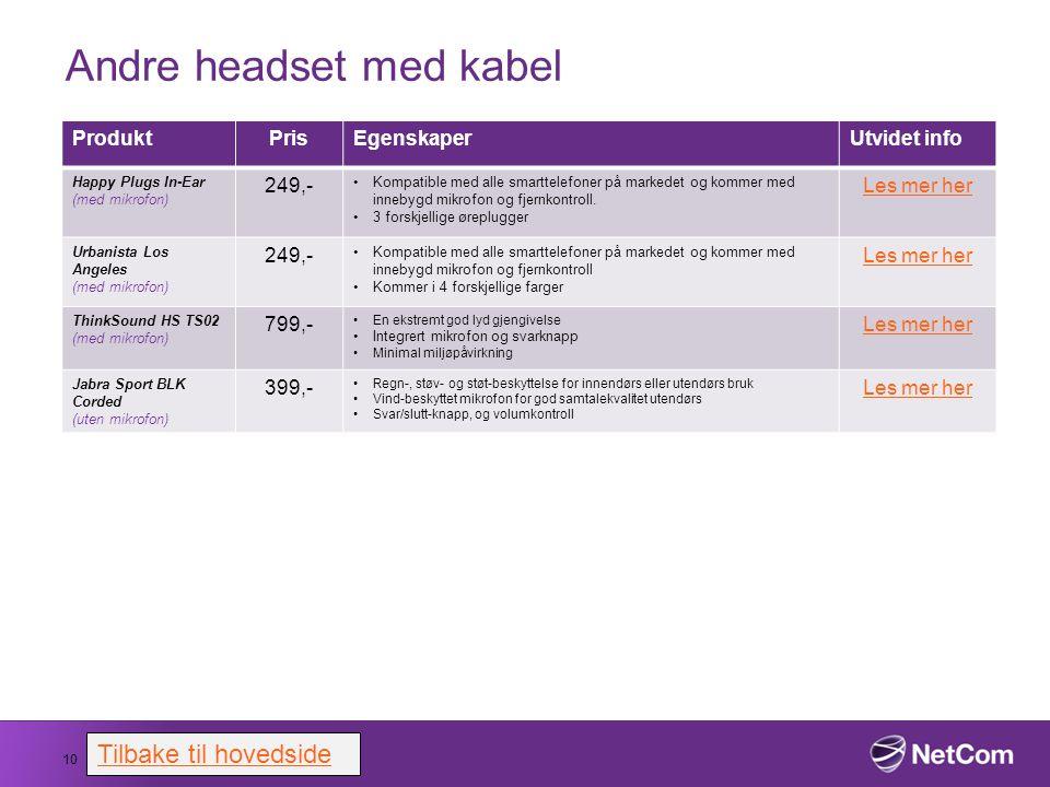Andre headset med kabel 10 ProduktPrisEgenskaperUtvidet info Happy Plugs In-Ear (med mikrofon) 249,- Kompatible med alle smarttelefoner på markedet og