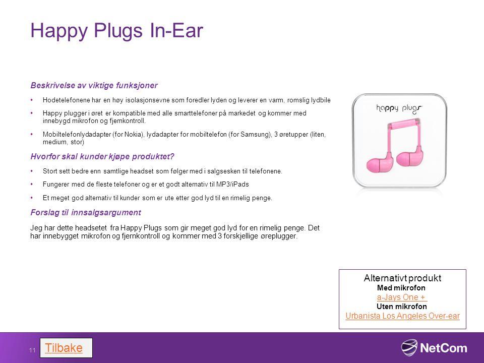 Happy Plugs In-Ear Beskrivelse av viktige funksjoner Hodetelefonene har en høy isolasjonsevne som foredler lyden og leverer en varm, romslig lydbile H