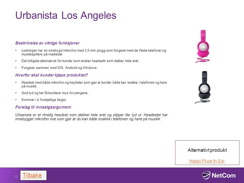 Urbanista Los Angeles Beskrivelse av viktige funksjoner Ledningen har en innebygd mikrofon med 3,5 mm plugg som fungerer med de fleste telefoner og mu