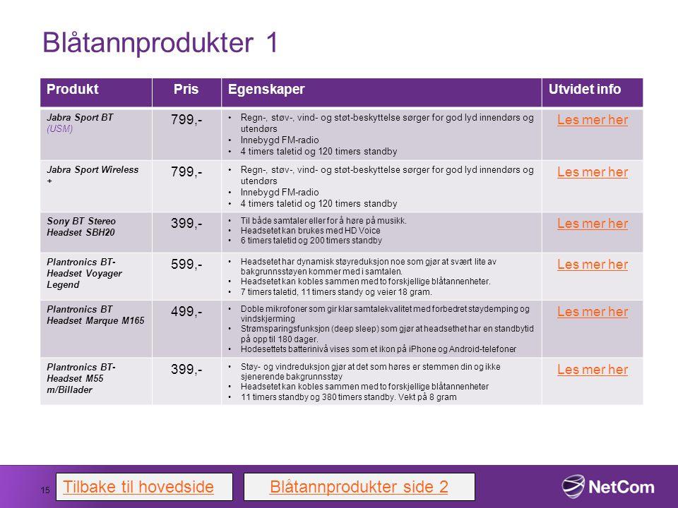 Blåtannprodukter 1 15 ProduktPrisEgenskaperUtvidet info Jabra Sport BT (USM) 799,- Regn-, støv-, vind- og støt-beskyttelse sørger for god lyd innendør