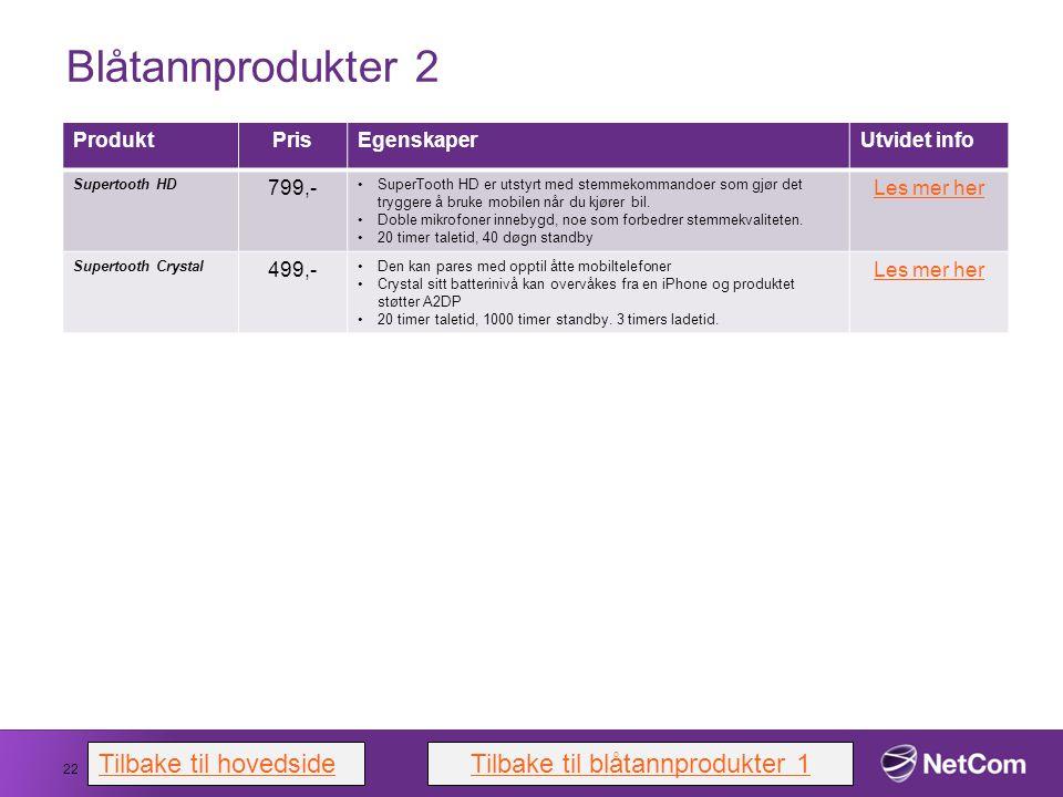 Blåtannprodukter 2 22 ProduktPrisEgenskaperUtvidet info Supertooth HD 799,- SuperTooth HD er utstyrt med stemmekommandoer som gjør det tryggere å bruk