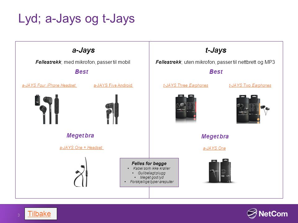 Lyd; a-Jays og t-Jays 3 Tilbake a-Jays Fellestrekk; med mikrofon, passer til mobil t-Jays Fellestrekk; uten mikrofon, passer til nettbrett og MP3 Best