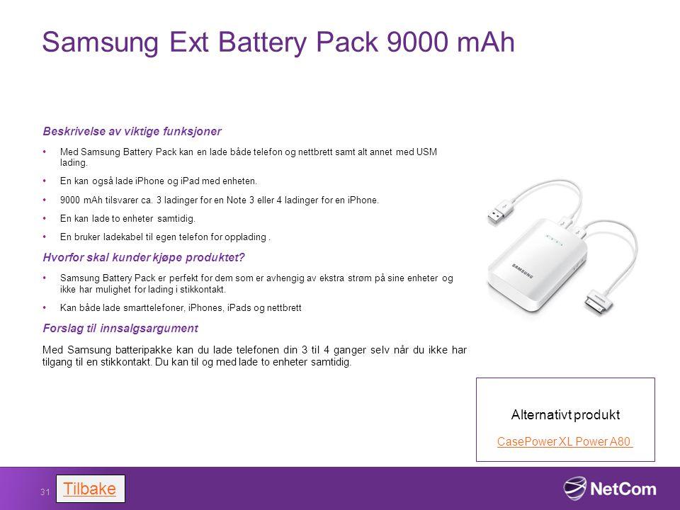Samsung Ext Battery Pack 9000 mAh Beskrivelse av viktige funksjoner Med Samsung Battery Pack kan en lade både telefon og nettbrett samt alt annet med