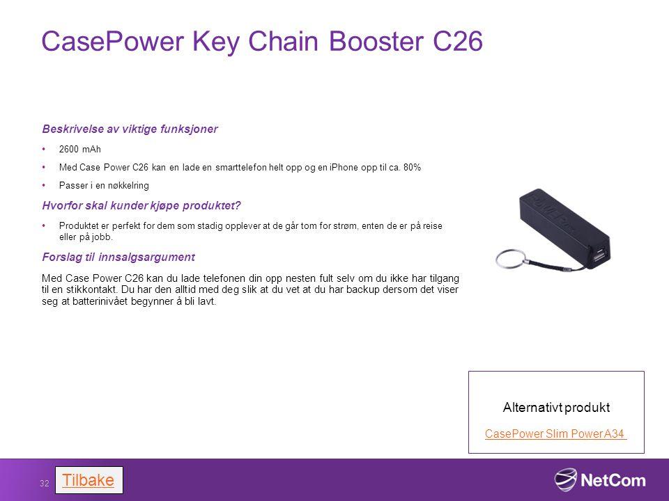 CasePower Key Chain Booster C26 Beskrivelse av viktige funksjoner 2600 mAh Med Case Power C26 kan en lade en smarttelefon helt opp og en iPhone opp ti