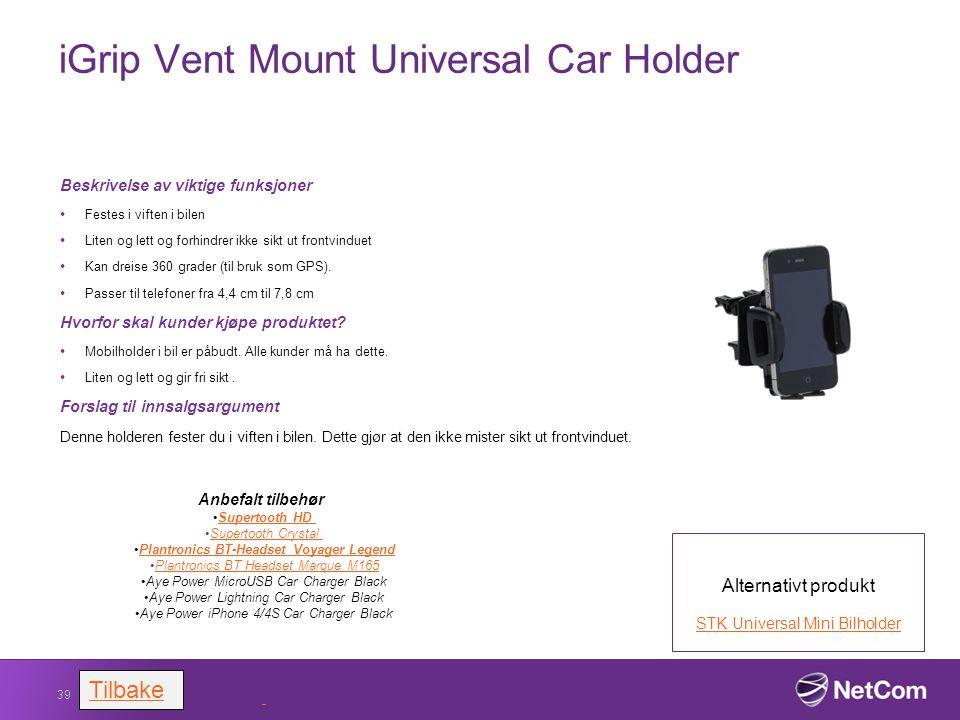 iGrip Vent Mount Universal Car Holder Beskrivelse av viktige funksjoner Festes i viften i bilen Liten og lett og forhindrer ikke sikt ut frontvinduet