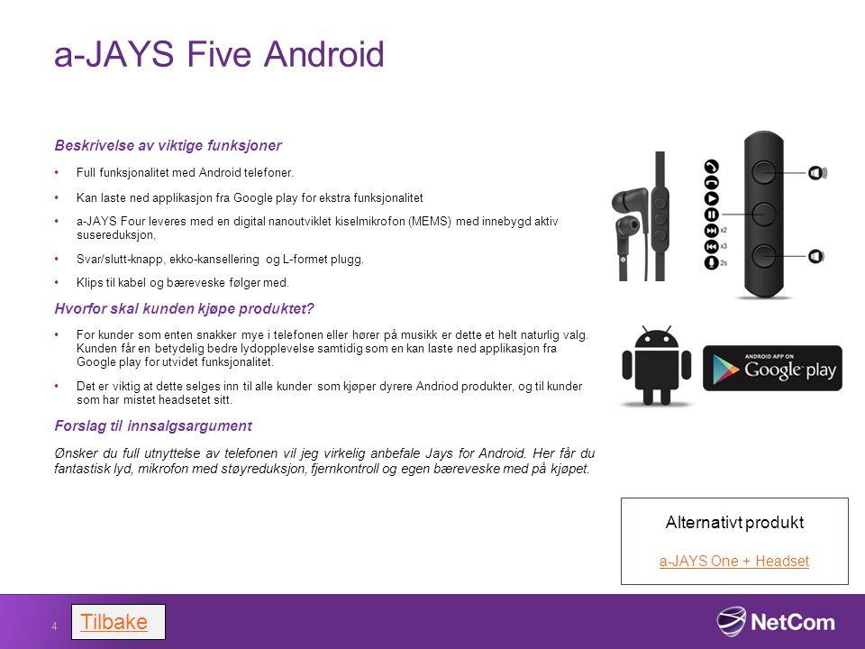 a-JAYS Five Android Beskrivelse av viktige funksjoner Full funksjonalitet med Android telefoner. Kan laste ned applikasjon fra Google play for ekstra
