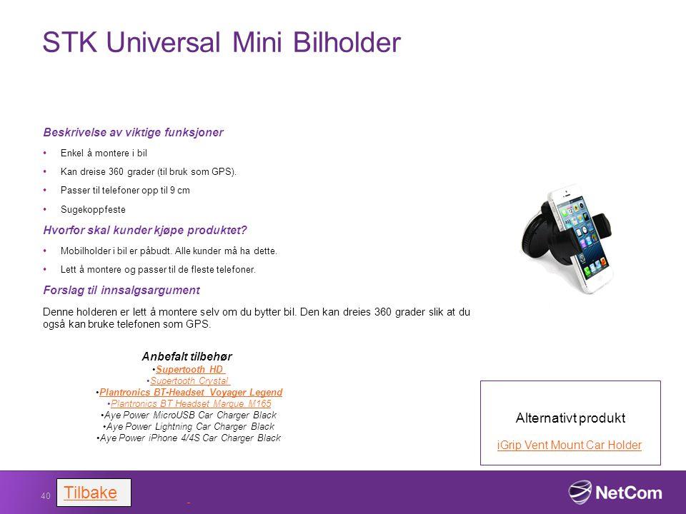 STK Universal Mini Bilholder Beskrivelse av viktige funksjoner Enkel å montere i bil Kan dreise 360 grader (til bruk som GPS). Passer til telefoner op