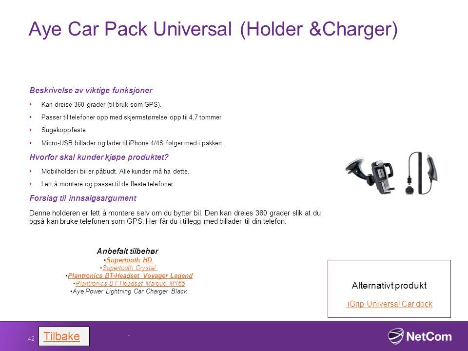 Aye Car Pack Universal (Holder &Charger) Beskrivelse av viktige funksjoner Kan dreise 360 grader (til bruk som GPS). Passer til telefoner opp med skje