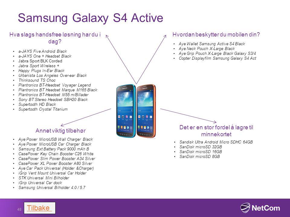 Samsung Galaxy S4 Active 48 Hvordan beskytter du mobilen din? Aye Wallet Samsung Active S4 Black Aye Neck Pouch X-Large Black Aye Grip Pouch X-Large B