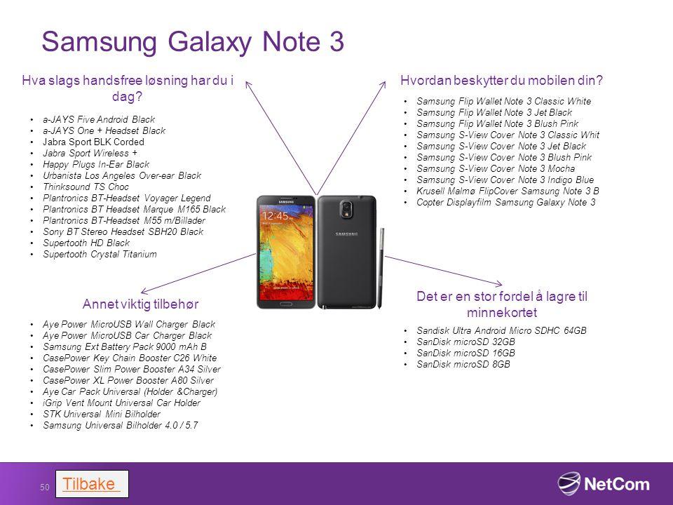 Samsung Galaxy Note 3 50 Hvordan beskytter du mobilen din?Hva slags handsfree løsning har du i dag? a-JAYS Five Android Black a-JAYS One + Headset Bla