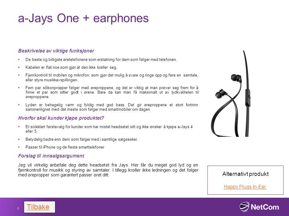 a-Jays One + earphones Beskrivelse av viktige funksjoner De beste og billigste øretelefonene som erstatning for dem som følger med telefonen. Kabelen