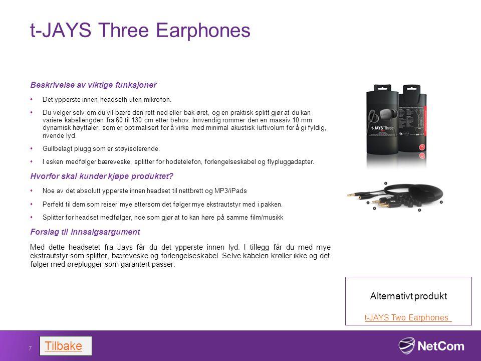 t-JAYS Three Earphones Beskrivelse av viktige funksjoner Det ypperste innen headseth uten mikrofon. Du velger selv om du vil bære den rett ned eller b