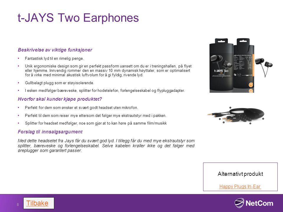 a-Jays One earphones Beskrivelse av viktige funksjoner Et godt alternativ for kunder som er ute etter et hadseth til MP3/iPad eller nettbrett og som ikke har behov for mikrofon.