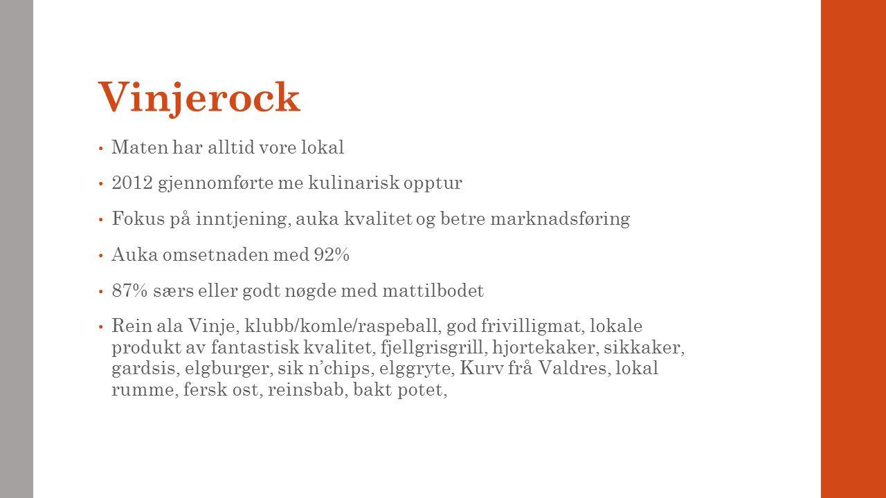 Vinjerock Maten har alltid vore lokal 2012 gjennomførte me kulinarisk opptur Fokus på inntjening, auka kvalitet og betre marknadsføring Auka omsetnade