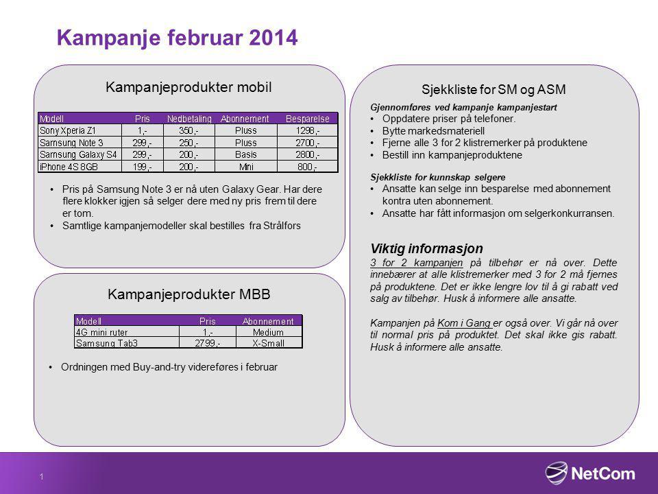 Salgskonkurranse Konkurransen går fra 3 februar til 30 mars.