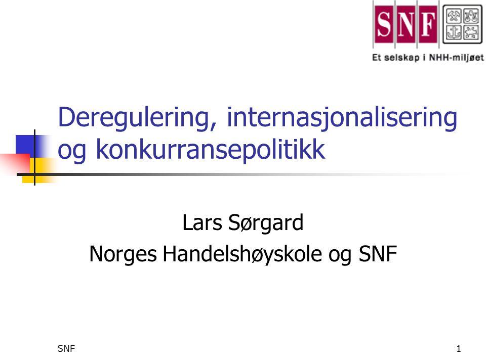 SNF2 Tema på prosjektet Hovedproblemstilling Effekt av internasjonalisering og deregulering på konkurranse i nasjonale markeder Hva betyr det i sin tur for nasjonal konkurranse- politikk.