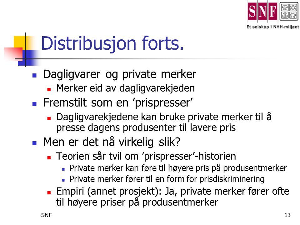 SNF14 Noen avsluttende merknader Konkurranse er viktig, men fallgrubene er mange har vi vist Vanskelig å oppnå konkurranse (sement, private merker, lukkede distribusjonskanaler, …) Konkurransen 'tyter ut' på feil måte (luftfart,..) Blir i stor grad en fordelingskamp (lønn, fusjon,..) Det gir i neste omgang innspill til forbedret politikkutforming, basert på 'sunn' konkurranse Endrede rammebetingelser i norsk luftfart Konkurransen i dagligvaremarkedet Samspillet mellom produkt- og arbeidsmarkedet