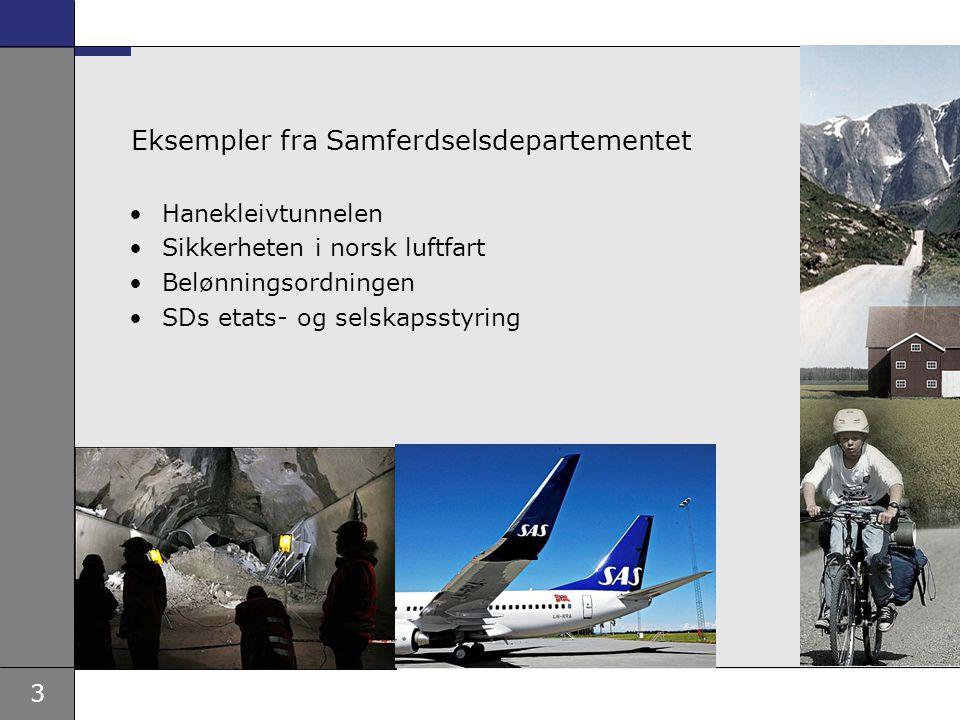 3 Eksempler fra Samferdselsdepartementet Hanekleivtunnelen Sikkerheten i norsk luftfart Belønningsordningen SDs etats- og selskapsstyring