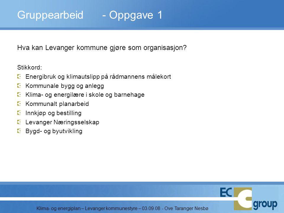 Klima- og energiplan – Levanger kommunestyre – 03.09.08 - Ove Taranger Nesbø Gruppearbeid - Oppgave 1 Hva kan Levanger kommune gjøre som organisasjon?