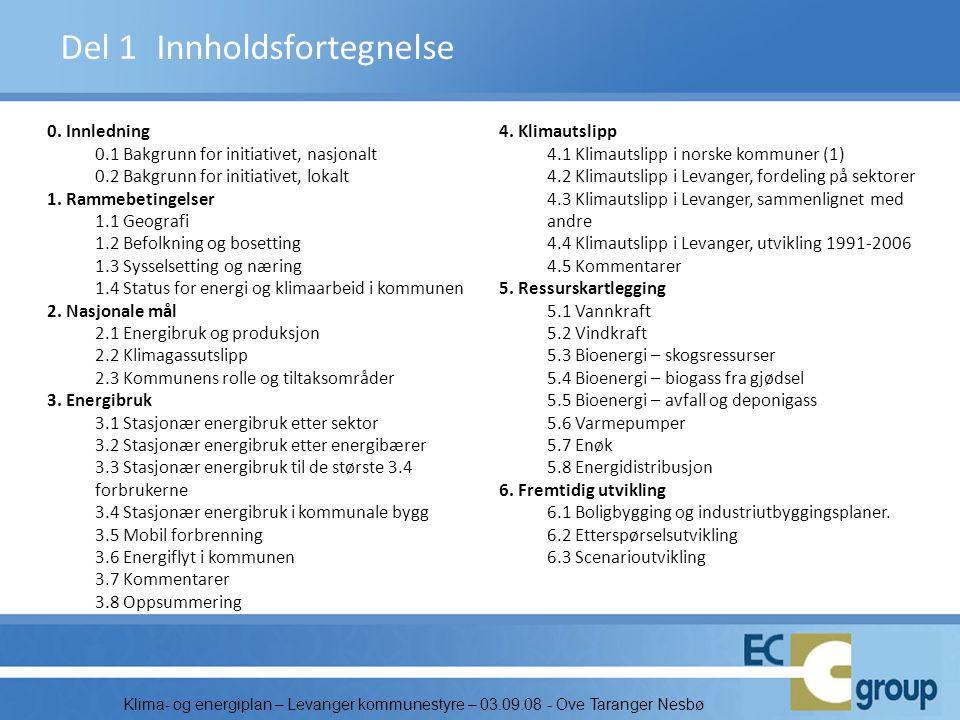 Klima- og energiplan – Levanger kommunestyre – 03.09.08 - Ove Taranger Nesbø Del 1Innholdsfortegnelse 0. Innledning 0.1 Bakgrunn for initiativet, nasj