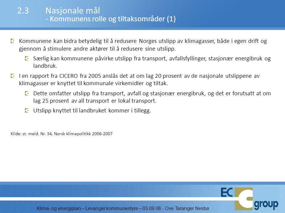 Klima- og energiplan – Levanger kommunestyre – 03.09.08 - Ove Taranger Nesbø 2.3Nasjonale mål - Kommunens rolle og tiltaksområder (1) Kommunene kan bi